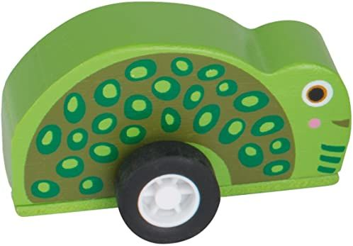 Oops Kolorowa drewniana zabawka Push z kółkami w super słodkim stylu żółwia