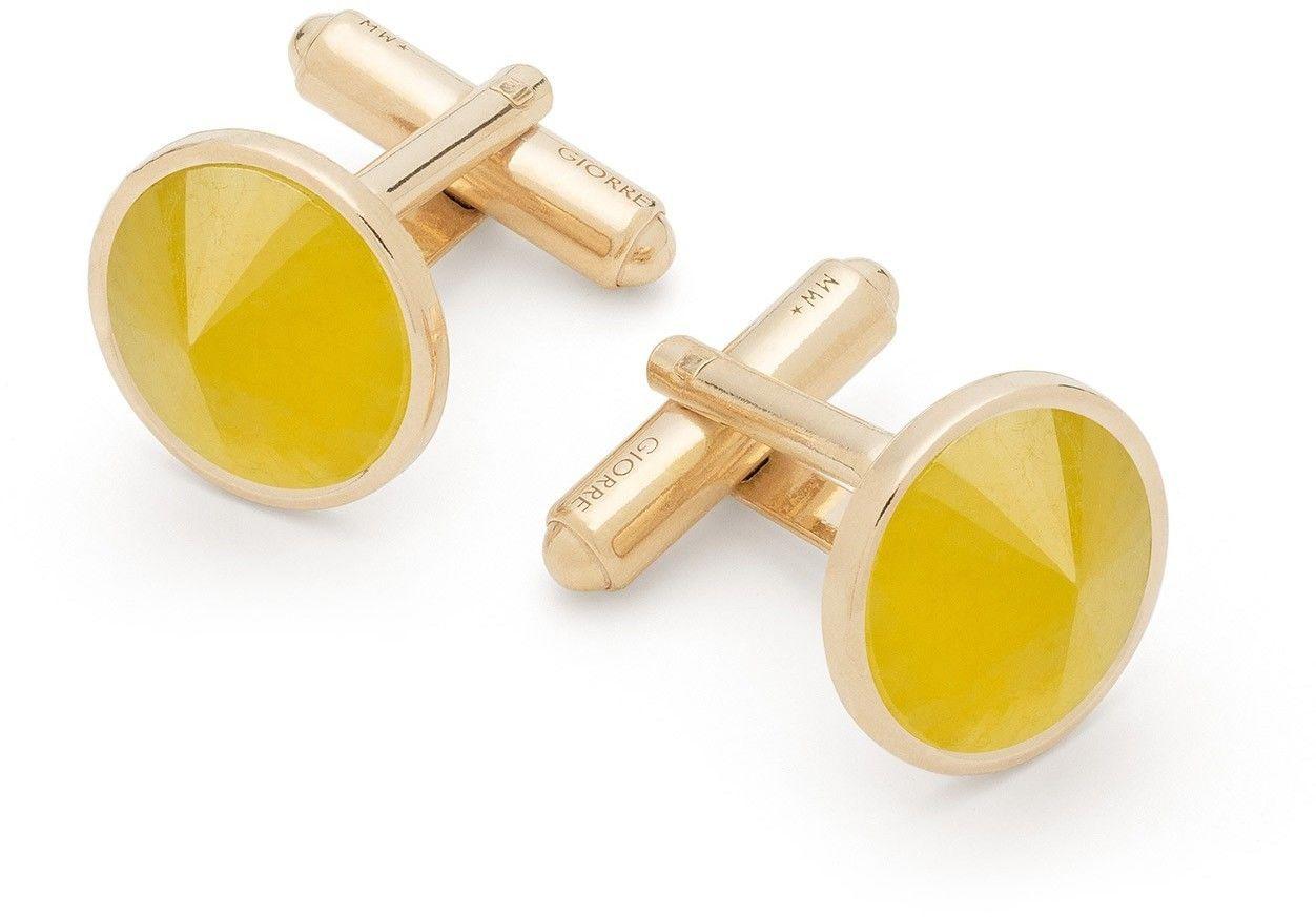 Spinki do mankietu z chalcedonem, srebro 925 : Kamienie naturalne - kolor - chalcedon żółty , Srebro - kolor pokrycia - Pokrycie żółtym 18K złotem