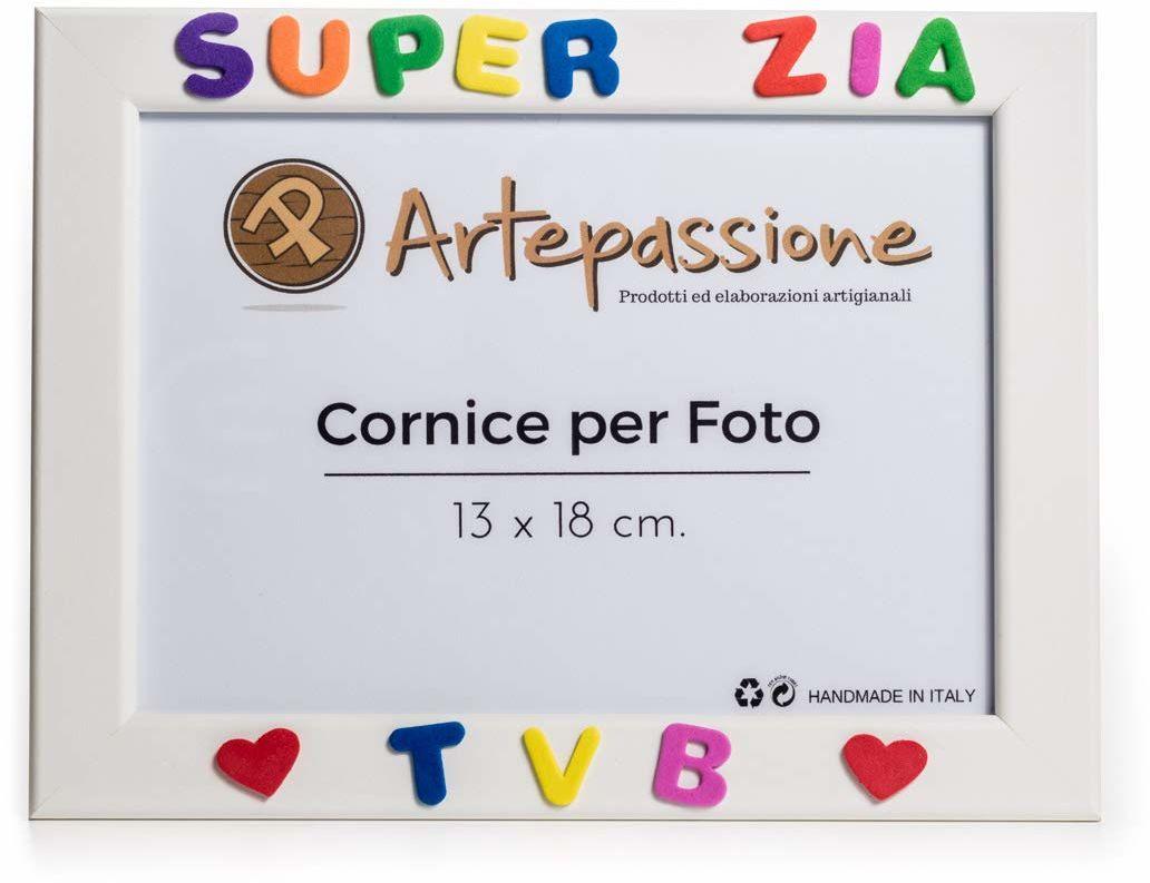 Artepassion drewniane ramki na zdjęcia z tekstem Super Zia Tvb i ozdobione sercami, wielokolorowe, 13 x 18 cm