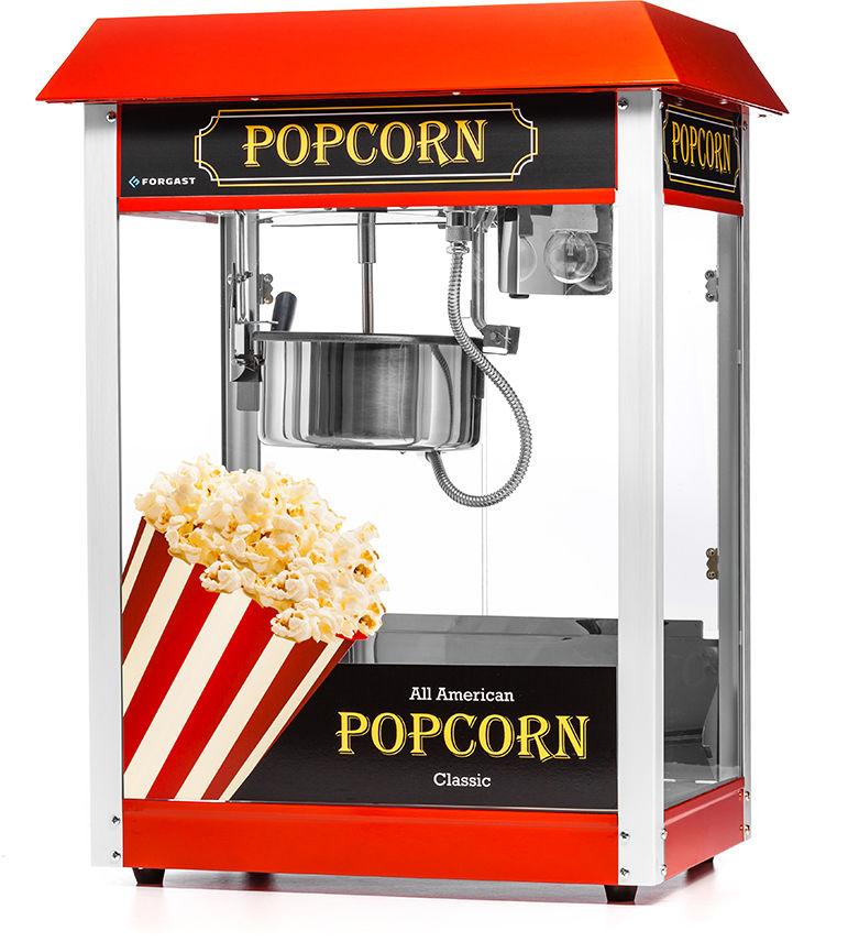Maszyna do popcornu z czerwonym daszkiem