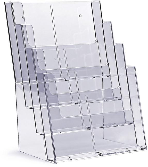 Stojak na ulotki kaskadowy 4 x A4 / 8 x DL plexi odlewany 4C230