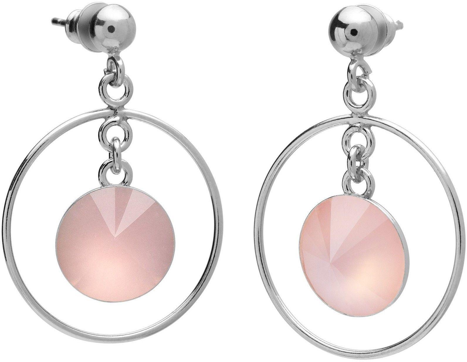 Okrągłe kolczyki z kwarcem, srebro 925 : Kamienie naturalne - kolor - kwarc różowy antyczny, Srebro - kolor pokrycia - Pokrycie platyną