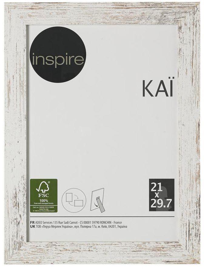Ramka na zdjęcia Kai 21 x 29.7 cm biała shabby MDF Inspire
