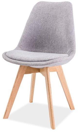Krzesło DIOR jasno szare/buk tapicerowane inspirowane stylem skandynawskim  KUP TERAZ - OTRZYMAJ RABAT