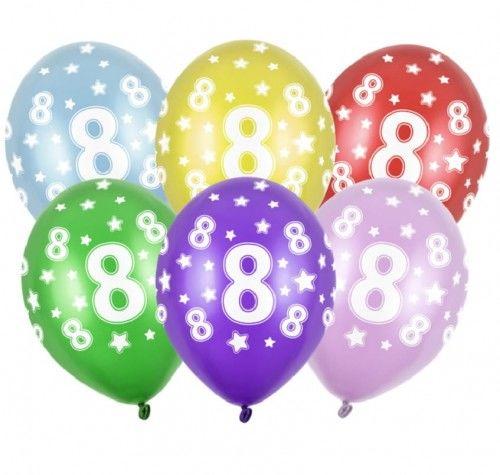 Balon 14 '' cyfra 8, mix metalicznych kolorów