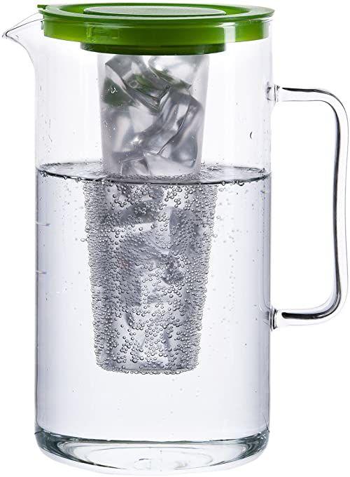 Bohemia Cristal 093006058 Dzbanek SIMAX ok. 2,5 ltr. Wykonane z żaroodpornego szkła borokrzemianowego z plastikową wkładką na kostki lodu i zieloną plastikową pokrywką