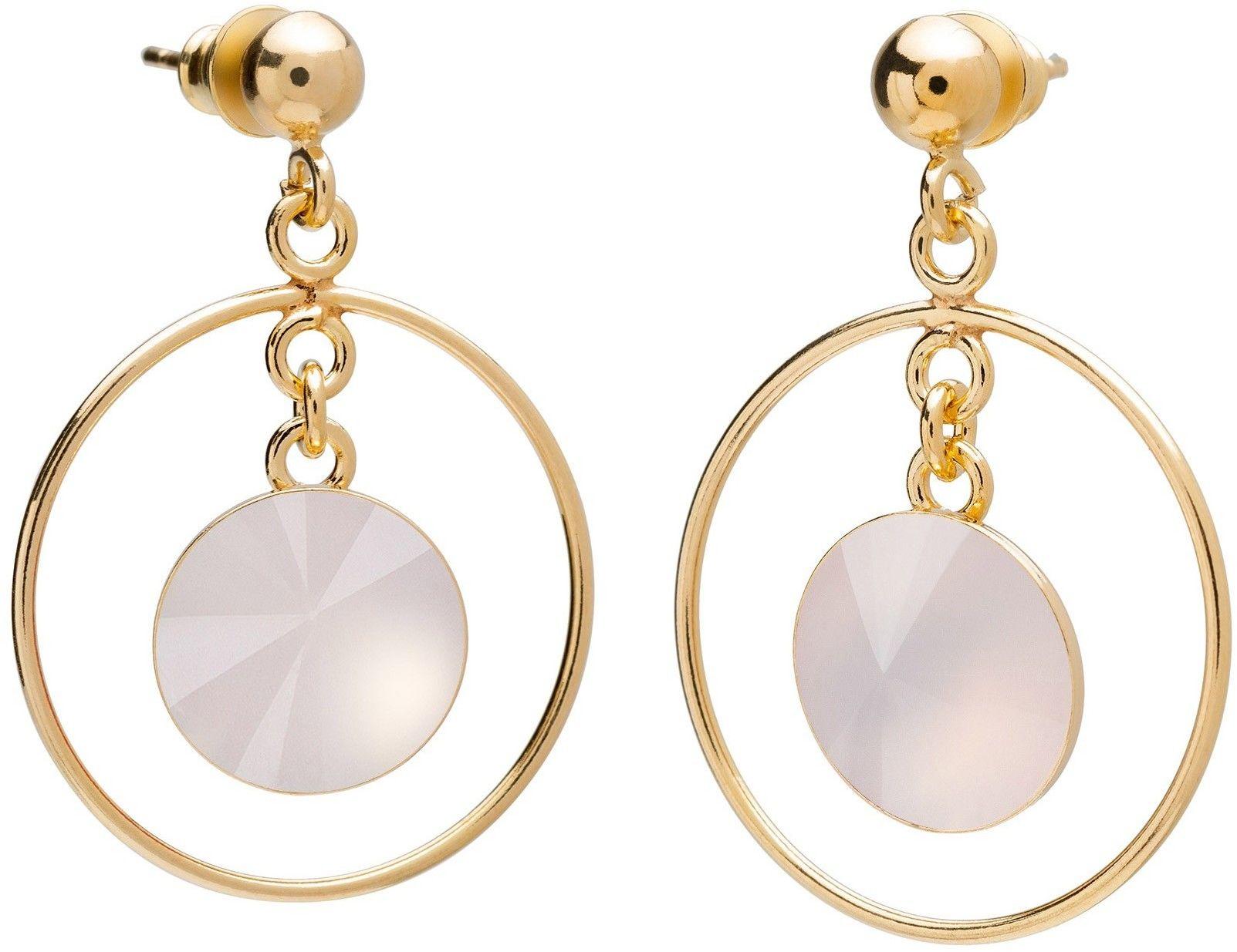 Okrągłe kolczyki z kwarcem, srebro 925 : Kamienie naturalne - kolor - kwarc różowy jasny, Srebro - kolor pokrycia - Pokrycie żółtym 18K złotem