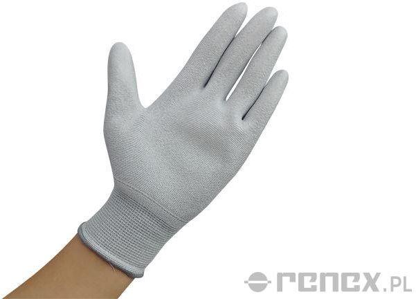 Rękawiczki ESD z warstwą antypoślizgową na całej powierzchni dłoni, szare, rozmiar S