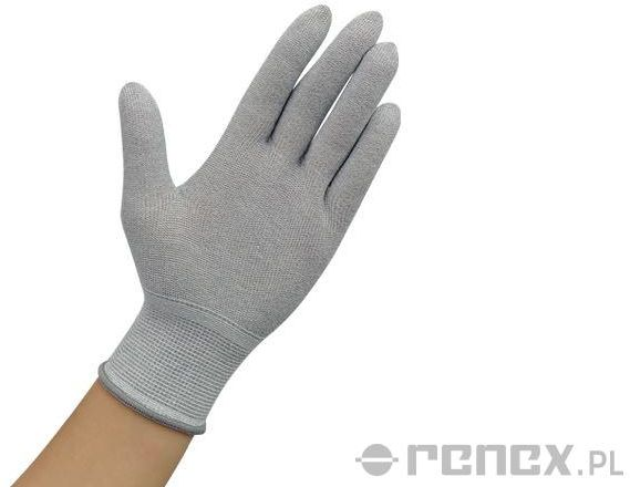 Rękawiczki ESD bez warstwy antypoślizgowej, szare, rozmiar S