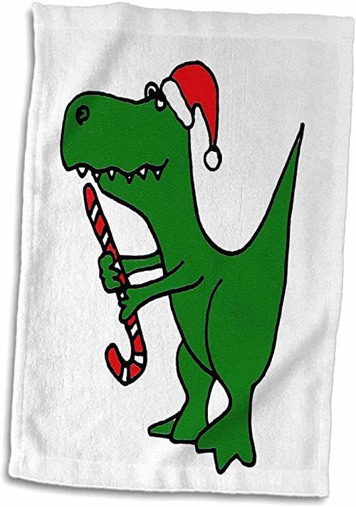 """3dRose""""Zabawny zielony Trex dinozaur z czapką Świętego Mikołaja i ręcznikiem z laski cukrowej, 38,1 x 55,9 cm, biały"""