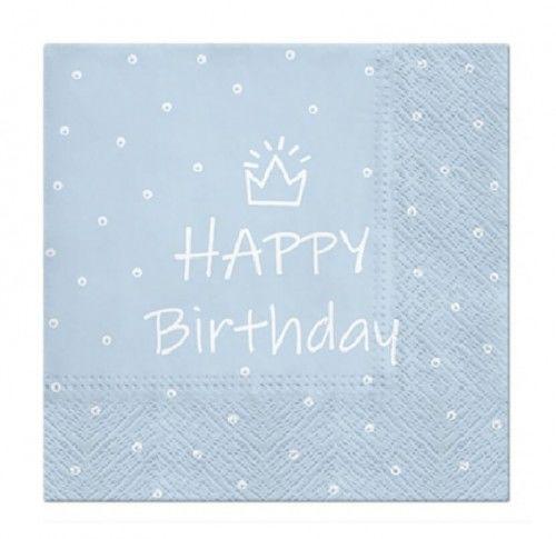 Serwetki urodzinowe Happy Birthday jasno niebieskie , 20 szt.