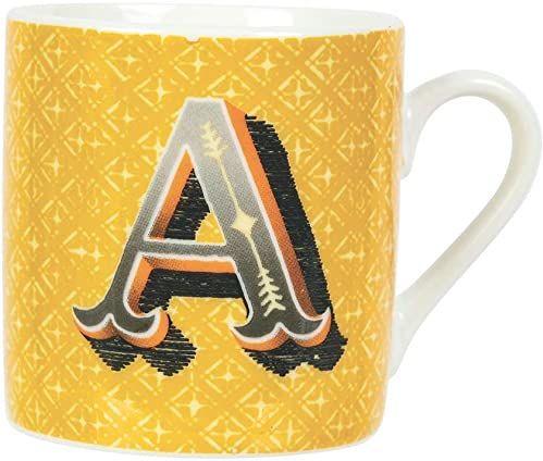 Villa d''Este Home Tivoli Monogram filiżanki do kawy, 90 ml, z New Bone China, żółty + szary, Ø 5,3 x wys. 5,5 cm, 6 sztuk