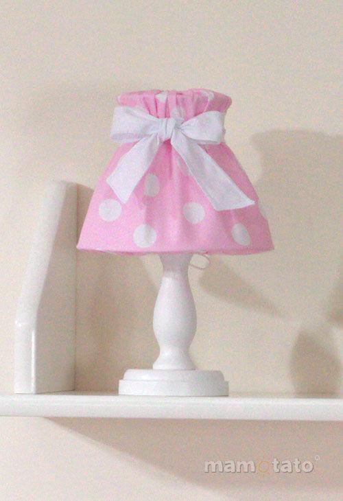 MAMO-TATO Lampka Nocna Grochy różowe