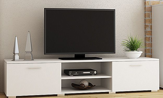Biała szafka RTV - Pixelo