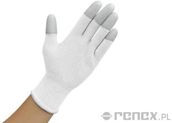 Rękawiczki ESD z warstwą antypoślizgową na palcach, białe, rozmiar L