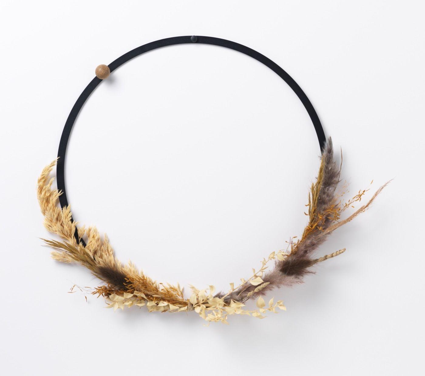 CZARNY metalowy okrągły pierścień / obręcz / wianek dekoracje fi-35 cm NAGA (70150)