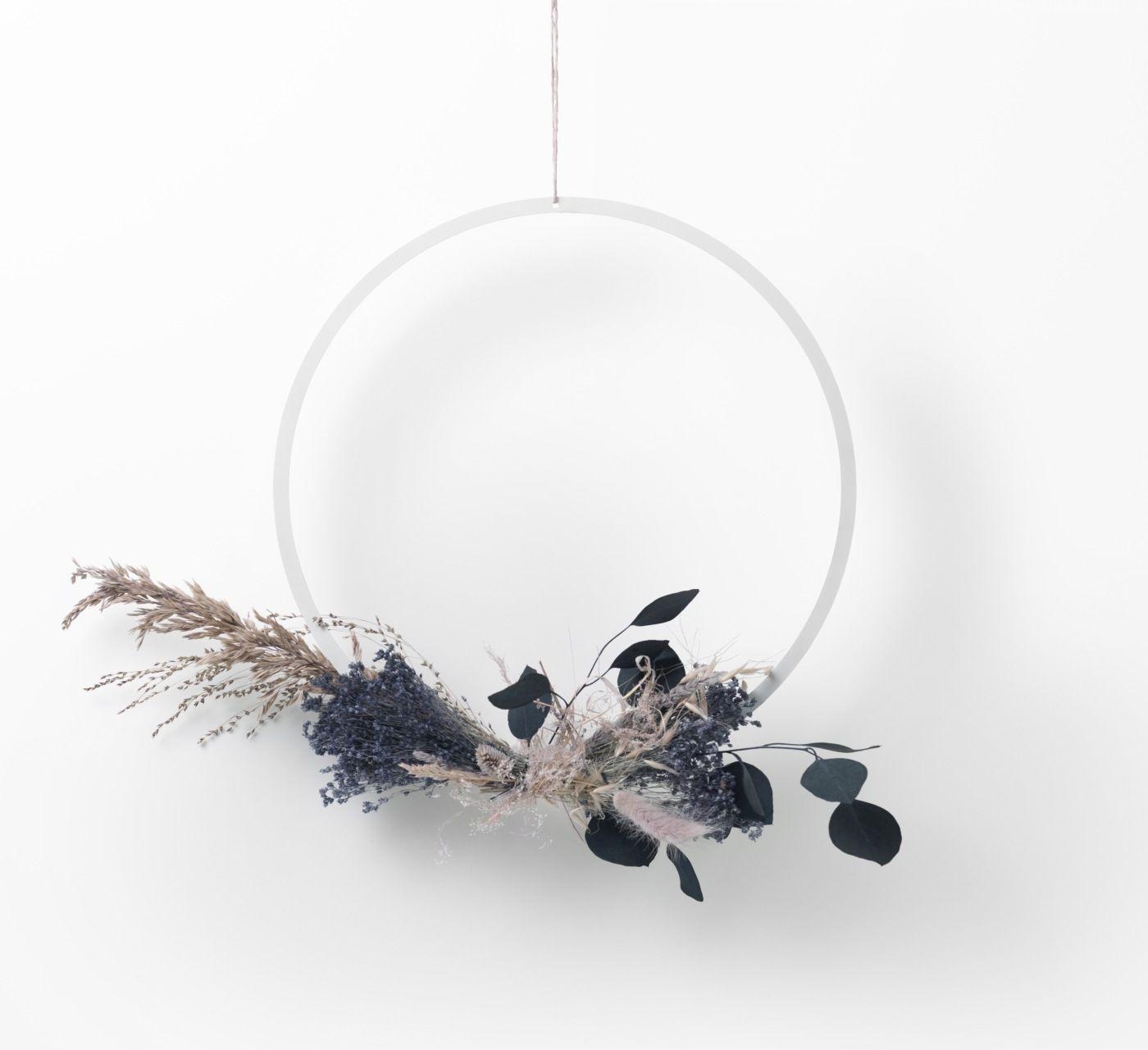 BIAŁY metalowy okrągły pierścień / obręcz / wianek dekoracje fi-35 cm NAGA (70149)
