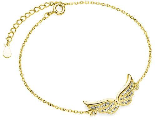 Pozłacana srebrna bransoletka szczęścia gwiazd celebrytka skrzydła anioła cyrkonie srebro 925 Z1320BG