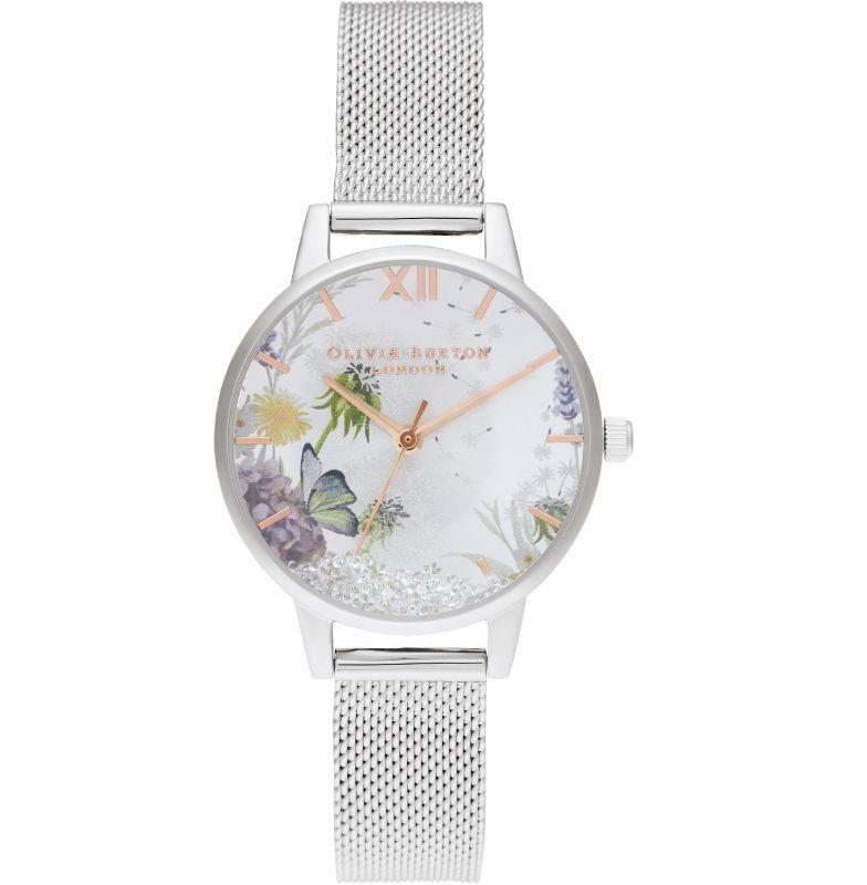 Zegarek damski Olivia Burton Wishing Watch Silver Sunray Rose Gold & Silver Mesh OB16SG03