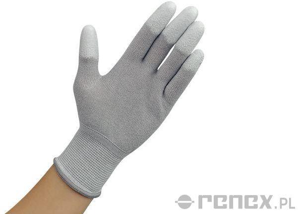 Rękawiczki ESD z warstwą antypoślizgową na palcach, szare, rozmiar S