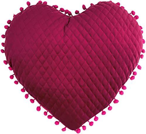 little furn. Poduszka wypełniona dużym sercem pomponem, gorący róż, 35 x 40 cm (14 cali x 16 cali)