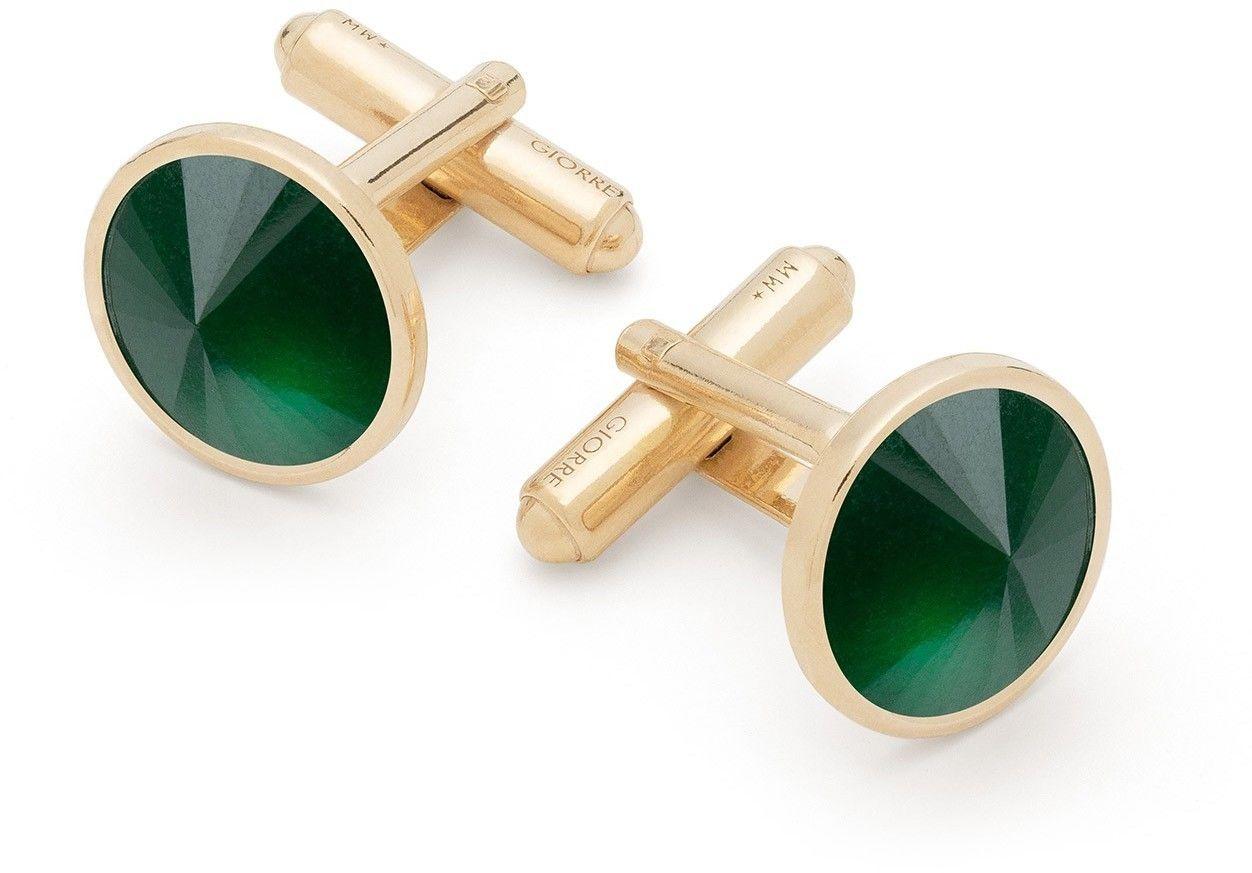 Spinki do mankietu z jadeitem, srebro 925 : Kamienie naturalne - kolor - jadeit zielony ciemny, Srebro - kolor pokrycia - Pokrycie żółtym 18K złotem