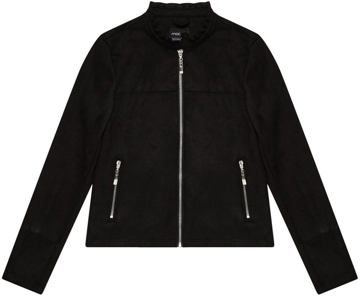Krótka kurtka czarna z imitacji zamszu