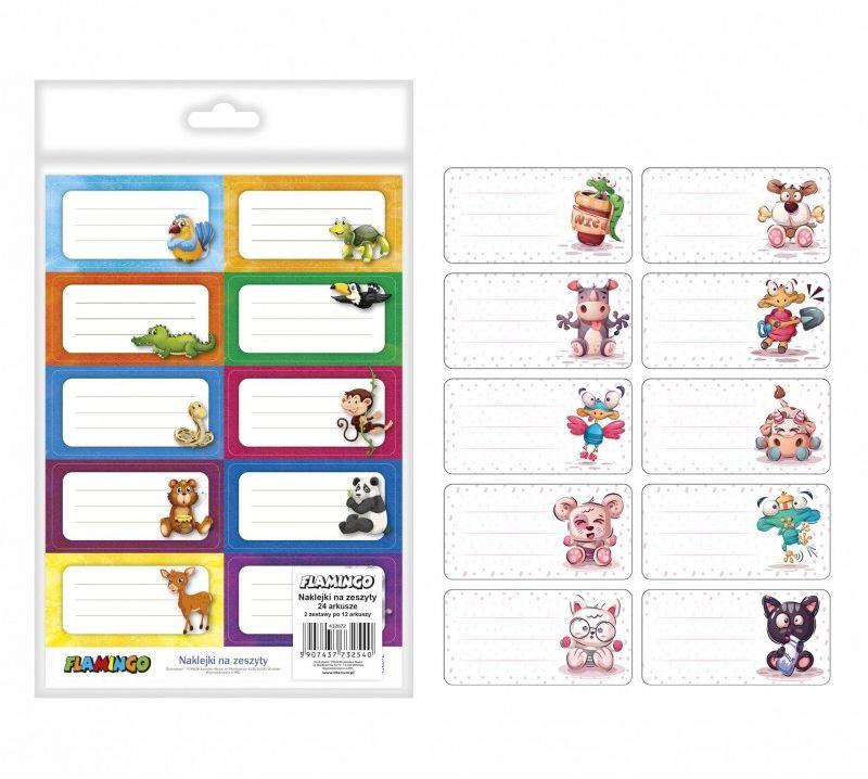 Naklejki na zeszyt kolorowe Flamingo 432672 6424-NAKLEJKI-FLAMINGO