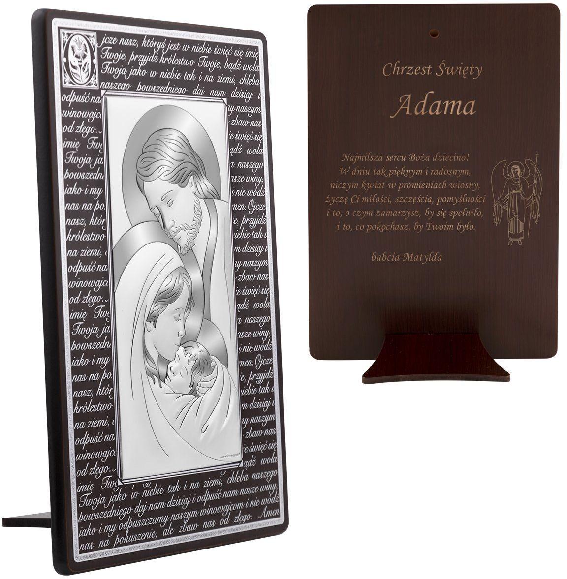 Srebrny obrazek na chrzest Święta Rodzina na ciemnym drewnie z modlitwą Ojcze Nasz 17x26 cm Grawer