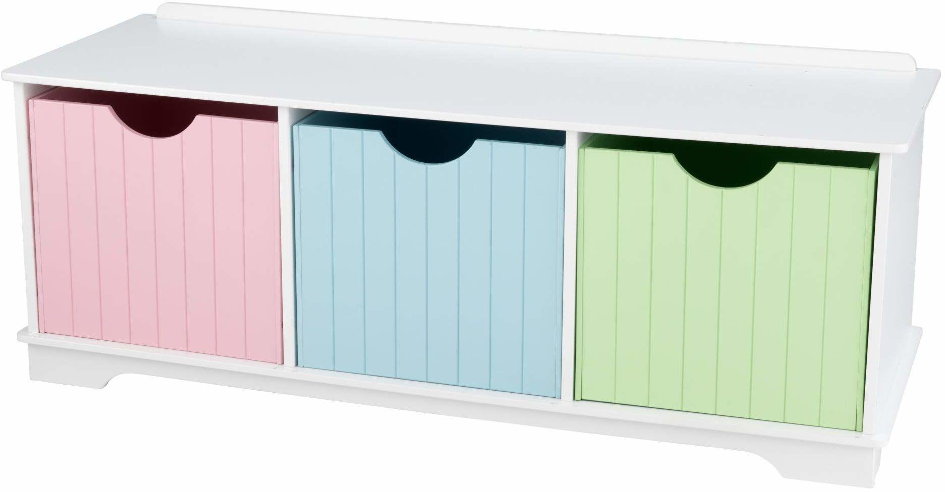 KidKraft 14565 pastelowa wantucket drewniana ławka do przechowywania dla dzieci z 3 szufladami/koszami do przechowywania, meble do sypialni dziecięcej