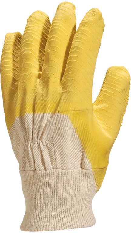 Rękawice robocze żółte szorstkowany lateks LA110