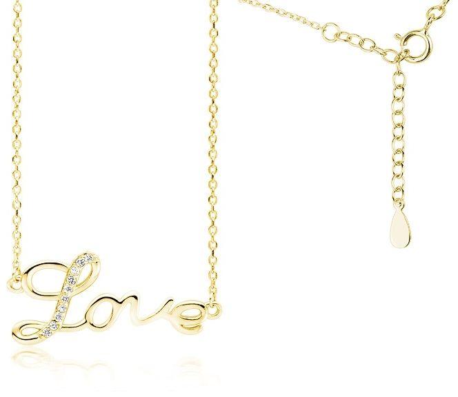 Pozłacany srebrny naszyjnik LOVE miłość cyrkonia cyrkonie celebrytka srebro 925 Z1769NG