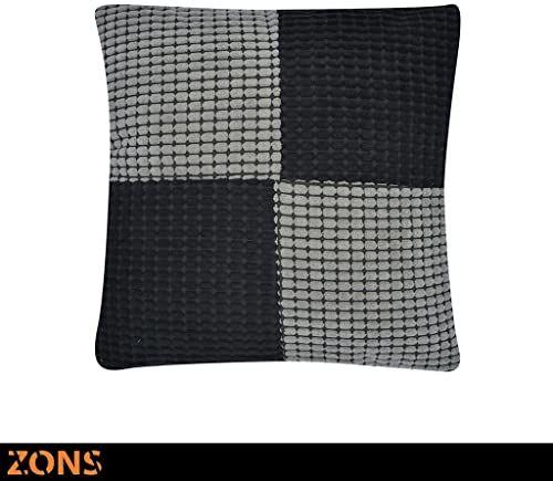 Poduszka Design patchwork pomarańczowa 45 x 45 cm + wypełnienie 480 g (szary/czarny)