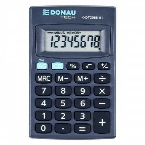 Kalkulator kieszonkowy 8 pozycyjny DONAU TECH K-DT2086-01 127x104x8mm czarny /K-DT2086-01/