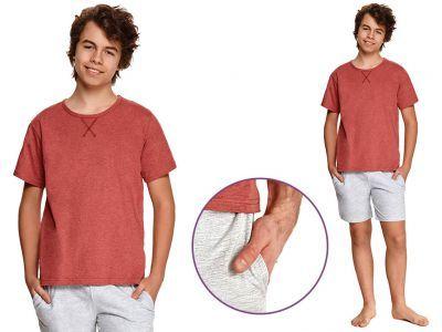 Piżama młodzieżowa ALBERT: ceglasty/szary