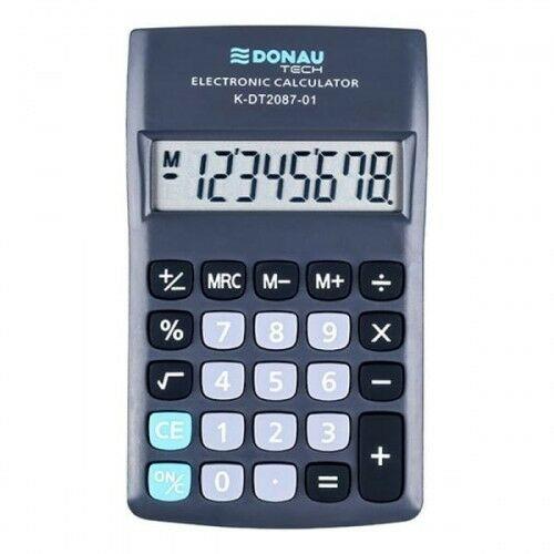Kalkulator kieszonkowy 8 pozycyjny DONAU TECH K-DT2087-01 180x90x19mm czarny /K-DT2087-01/