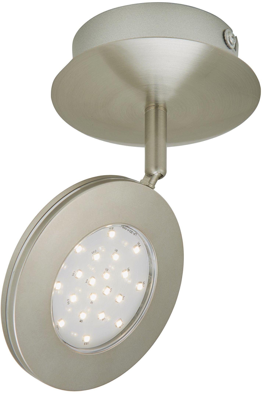 Briloner Leuchten reflektor LED, lampa ścienna, lampa sufitowa, reflektor, płytka LED, 4,5 W, 450 lumenów, obrotowy i wychylny, matowy nikiel 2804-012