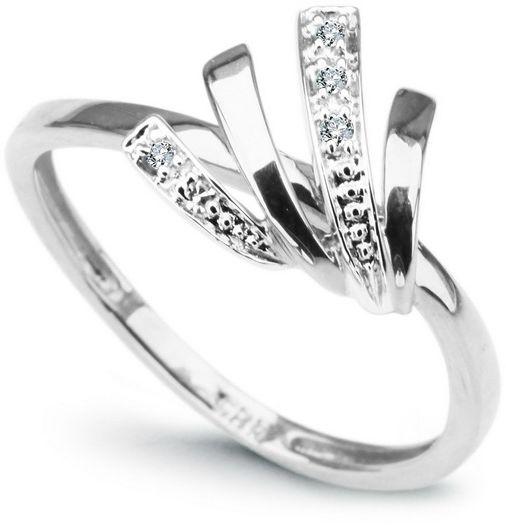 Staviori pierścionek. 5 diamentów, szlif achtkant, masa 0,03 ct., barwa h, czystość i1. białe złoto 0,585. średnica korony ok. 10 mm. szerokość obrączki ok. 1,5 mm.
