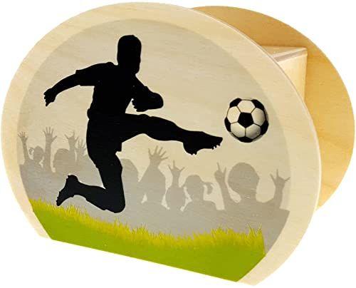 Hess drewniana zabawka 20013 skarbonka dla dzieci z motywem piłki nożnej, z zamkiem gumowym, ręcznie wykonana, na prezenty pieniężne na urodziny, ok. 11,5 x 8,5 x 6,5 cm, wielokolorowa