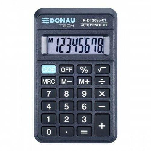Kalkulator kieszonkowy 8 pozycyjny DONAU TECH K-DT2085-01 114x69x18mm czarny /K-DT2085-01/
