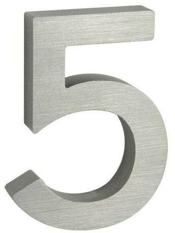 Aluminiowy numer domu 5, 3D pow. szlifowana
