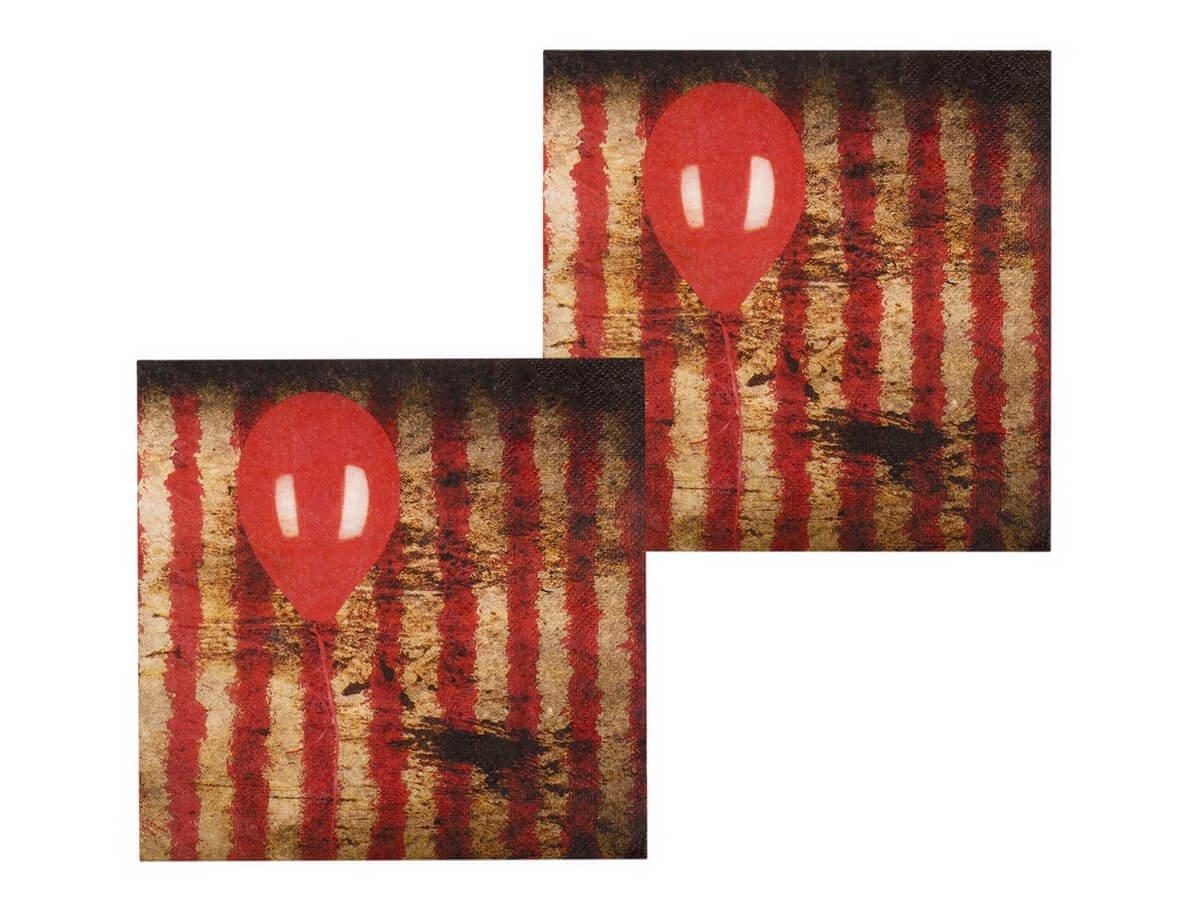 Serwetki halloweenowe Czerwony Balonik - 33 cm - 12 szt.