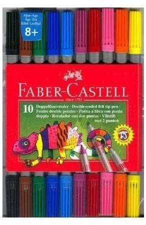 Flamastry dwustronne 10 kolorów FABER CASTELL
