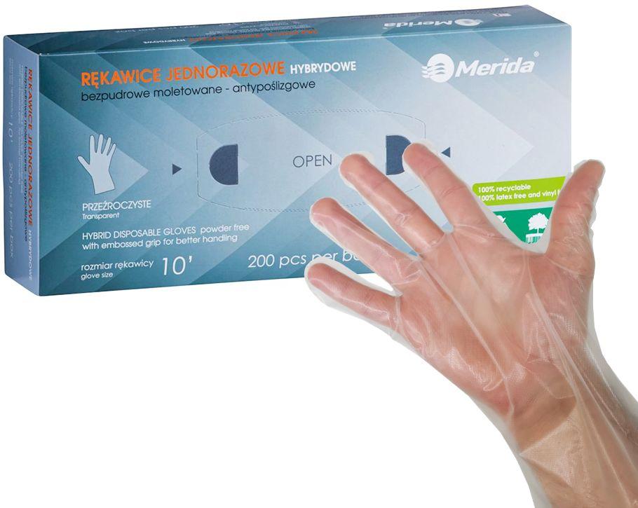 Antypoślizgowe rękawice hybrydowe MERIDA- opak 200 szt.