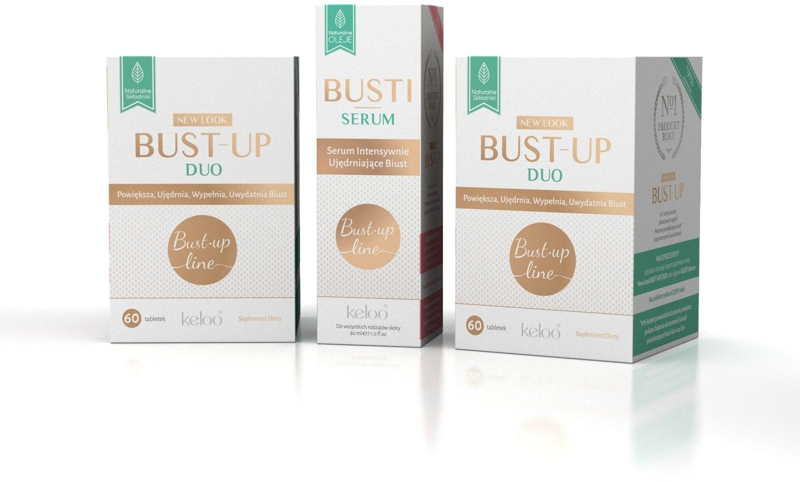 STARTER Miesięczna kuracja BUST-UP Line ( 2 x 60 kapsułek ) + BUSTI serum 30 ml