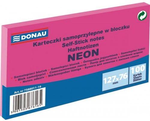 Karteczki samoprzylepne DONAU 127x76mm neonowy różowy (100k) 7588011-16