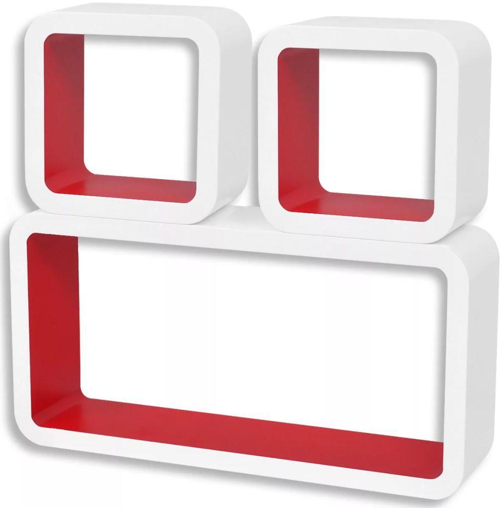 Zestaw biało-czerwonych półek ściennych - Lara 2X