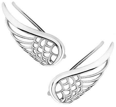 Eleganckie rodowane srebrne kolczyki nausznice skrzydła anioła skrzydełka wings srebro 925 Z1711E