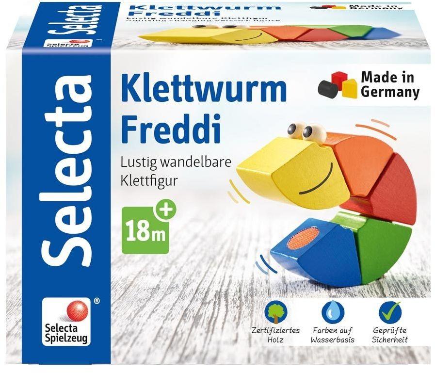 Selecta 62040 Klettwurm Freddi, zabawka do układania, z drewna, 16 cm