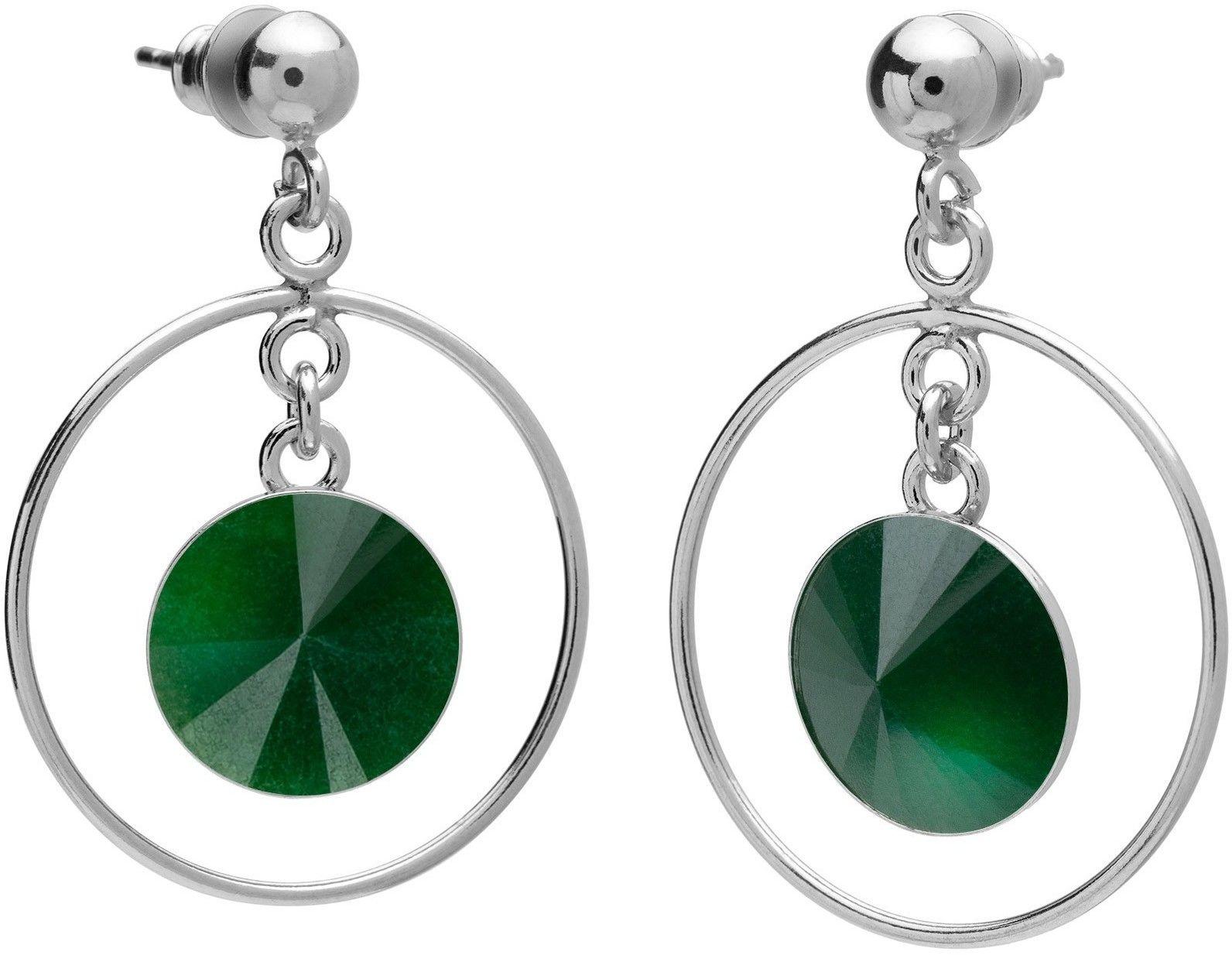 Okrągłe kolczyki z naturalnym kamieniem, jadeit, srebro 925 : Kamienie naturalne - kolor - jadeit zielony ciemny, Srebro - kolor pokrycia - Pokrycie platyną